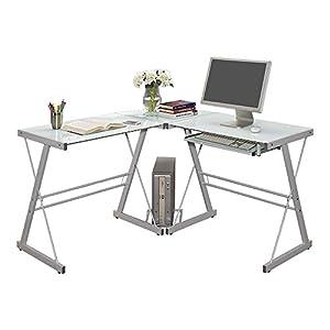 Modern glass corner computer desk with - Small corner desk with storage ...