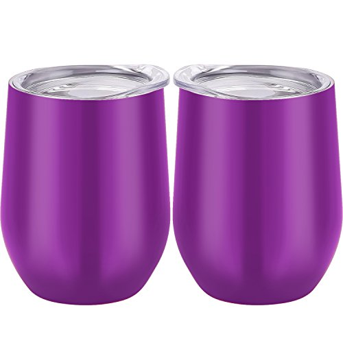 Skylety 12 oz Double-insulated Stemless Glass, Stainless Steel Tumbler Cup with Lids for Wine, Coffee, Drinks, Champagne, Cocktails, 2 Pieces (Metallic Purple)