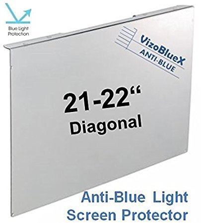 21-22 inch VizoBlueX Anti-Blue Light Filter for Computer Monitor. Blue Light Monitor Screen Protector Panel (19.7 x 12.0 inches). Blocks Blue Light 380 to 495 nm. Fits LCD, TV and PC, Mac Monitors by VizoBlueX