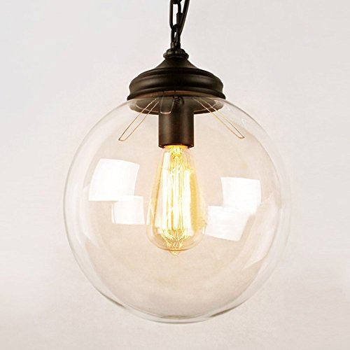 SUSUO 1 Light Industrial Edison Simplicity Style Clear Glass Globe Shape Ball Pendant Hanging Light
