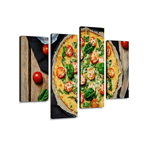 (Cauliflower Pizza Crust with Tomato and Spinach Canvas Wall Art Hanging Paintings Modern Artwork Abstract Picture Prints Home Decoration Gift Unique Designed Framed 4 Panel )