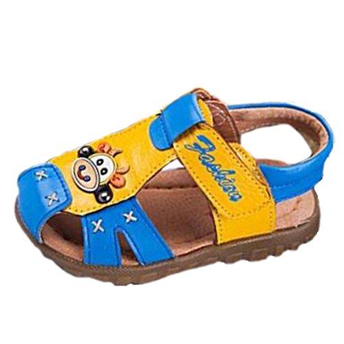 Ohmais Kinder Baby Jungen Baby Kleinkind Schuh Leder weich Blau Gelb
