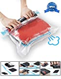 KFYM 10Pack Travel Space Saver Bags (4 x S, 3 x M, 3 XL), Reusable Vacuum Travel Storage Bag, Saves 75% of Storage Space, Roll-Up Compression, No Need for Vacuum Machine Or Pump