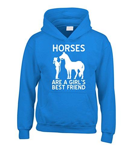 """Edward Sinclair–Sudadera con capucha con la frase """"Horses are a girl's best friend"""" impresa en blanco zafiro"""