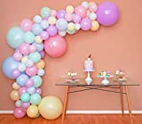 Mixed Sizes - Pastel Balloon Garland Kit & Balloon Arch - Easter Spring Rainbow Party Balloons - Small and Large Balloons, Mint Green, Purple, Yellow, Pink and Blue Balloons, Unicorn Ballon fr Parties