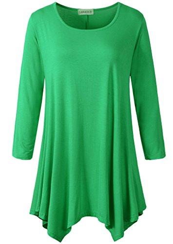 Mini Spandex Leggings - LARACE Women Plus Size 3/4 Sleeve Tunic Tops Loose Basic Shirt (L, Spring Green)
