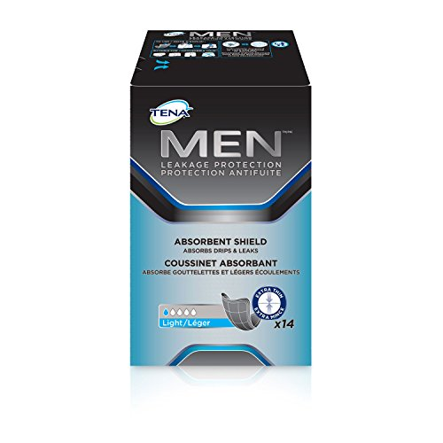 14 Count (1 Package) Tena Men Incontinence Shields - Very Light Absorbency, Blue, small