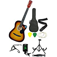 Jixing Sunburst Acoustic Guitar with Foldable, Guitar Stand,Tuner,String,Strap,3 Picks,Bag & Capo