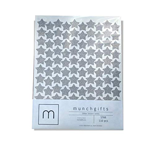 (Non Shed Star Glitter Stickers Set (1 inch - 110 pcs, Silver))