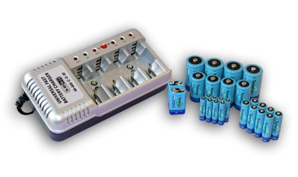 Combo: Tenergy T-1199BE Universal Battery Charger + 26 NiMH Rechargeable Batteries (8AA/8AAA/4C/4D/2 9V) by Tenergy