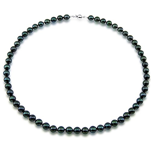 7.0-7.5mm Black Saltwater Akoya Cultured Pearl High Luster Necklace 18'' with sterling silver clasp by Akwaya