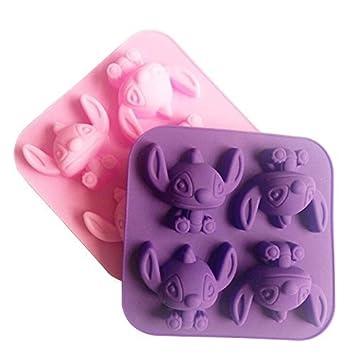 NiceButy - Molde de silicona con forma del dibujo animado Stitch para tartas, chocolates y jabones: Amazon.es: Hogar