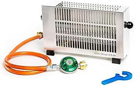Regulable 1,7 Kw Acero Inoxidable tienda Calefacción/Mini Gas Calefacción Con Gas Manguera, reductor de presión (Pesca, Camping, Exterior Calefacción, ...