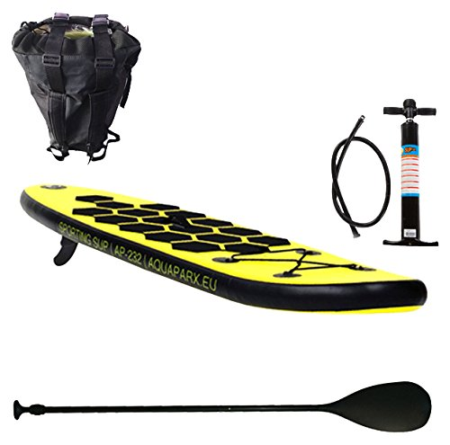 Aquaparx SUP 232 x 61 x 10 cm AP Inflatable ISUP Aufblasbar Alu-Paddel Marin Rucksack Pumpe Stand Up Paddle Board Set, Gelb/Schwarz Paddle