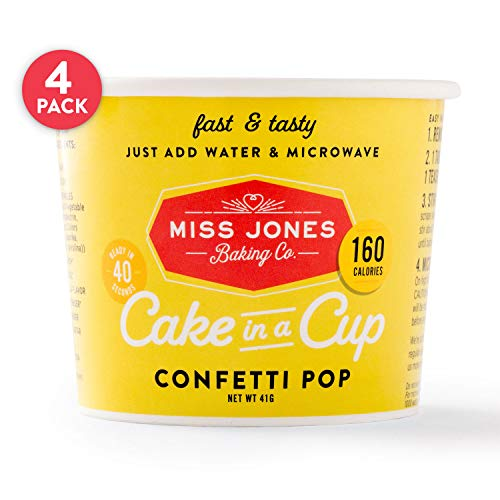 Miss Jones Baking Cake In A Cup, Microwave in Under a Minute, Quick Mix, Less Mess Than a Mug: Confetti Pop (Pack of 4)
