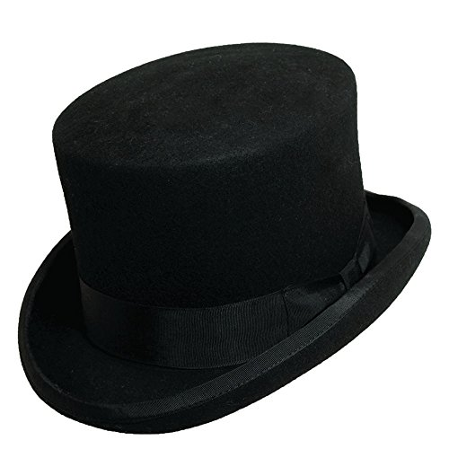 Scala Wool Top Hat (Scala Classico Men's Wool Felt Topper Hat BLACK 2XL)