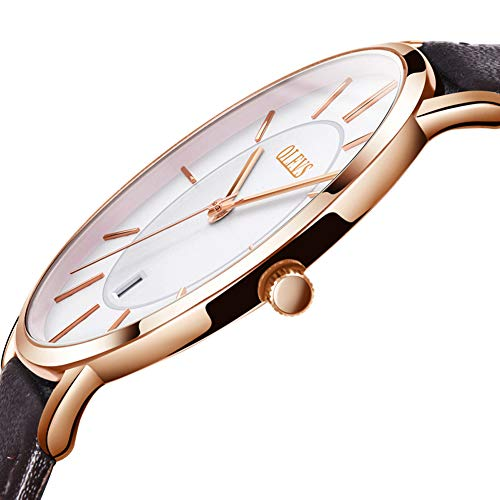 (Ultra Thin Watches for Men,Mens Simple Brown Leather Watch,Men's Business Quartz Watch Leather Band 30m Waterproof Wrist Watches,Rose Gold Watches Men,Automatic Calendar Watch with White Dial)