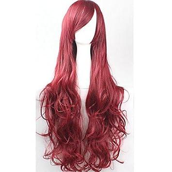 GSP-cos pelucas de colores brillantes animado larga peluca de pelo sin brillo plata rojo