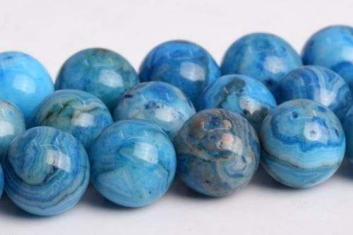 8mm Natural Blue Crazy Lace Agate Grade Round Gemstone Loose Beads 15'' Crafting Key Chain Bracelet Necklace Jewelry Accessories ()