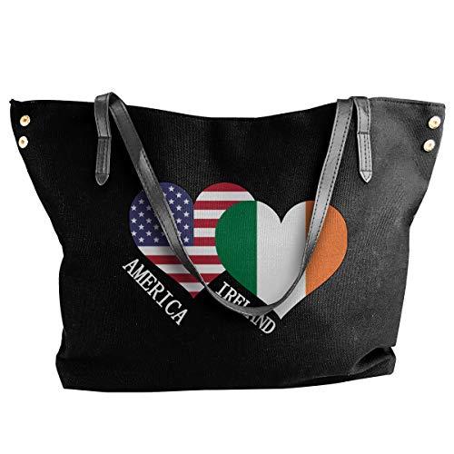 (SW98Q98 Ireland American Flag Women's Leisure Shoulder Bag Canvas Bag for Work Big Shopping Bag)