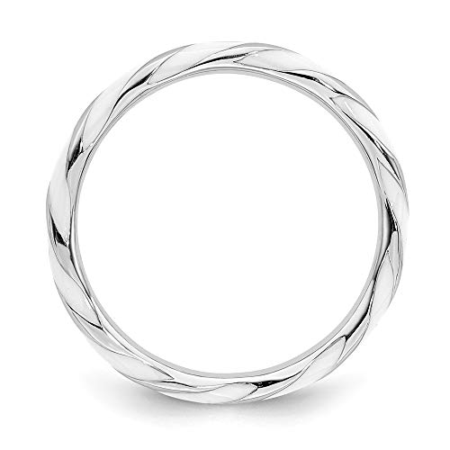 Plated White Enamel - Winter 925 Sterling Silver Rhodium Plated Twisted White Enamel Stackable Band