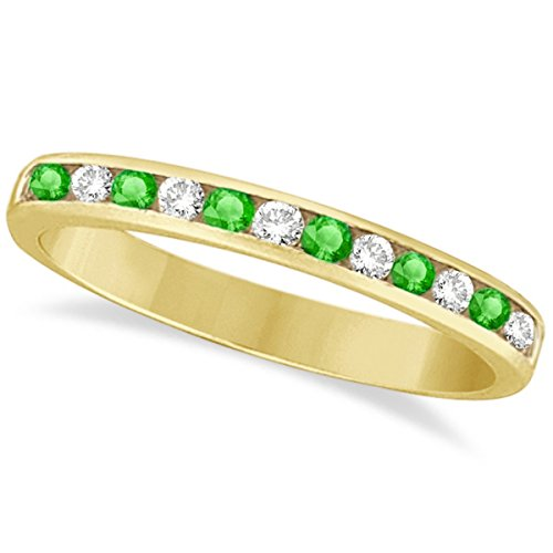 (0.40ct) Stackable Green Channel-Set Tsavorite Garnet Stone and Diamond Ring Band 14k Yellow Gold