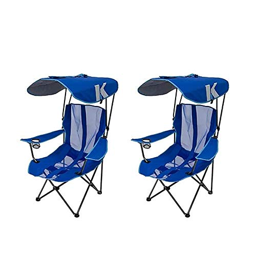 - Kelsyus Premium Portable Camping Folding Lawn Chair with Canopy, Blue | 80185 (2 Pack)