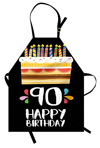 Ambesonne 90th Birthday Apron, Colorful Party Set on a Black Background with Cake Candles Design, Unisex Kitchen Bib with Adjustable Neck for Cooking Gardening, Adult Size, Black Yellow