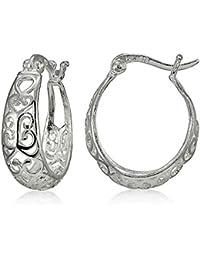 Sterling Silver High Polished Heart Filigree Oval Hoop Earrings