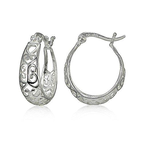 Sterling Silver High Polished Heart Filigree Oval Hoop Earrings Oval Loop Earrings