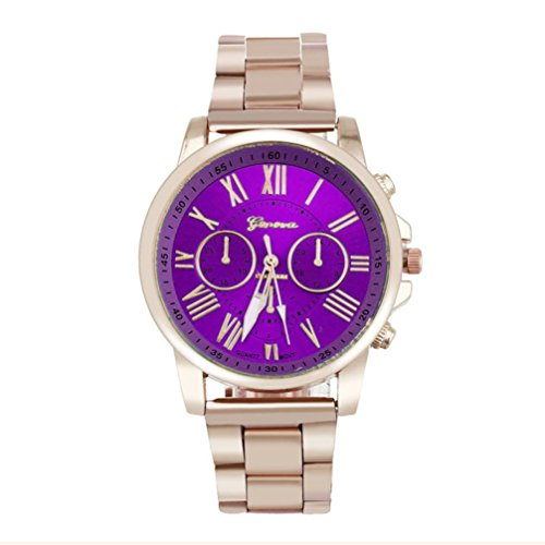 Han Shi Wristwatch, Unisex Roman Number Stainless Steel Quartz Sports Dial Watch Clock (A, Purple) from Han Shi
