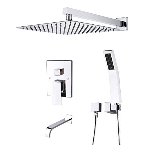 Artbath Shower System,Shower Faucet Set with Tub Spout for Bathroom and 10 inch Square Rain Shower Head Wall Mounted Shower Set (Contain Shower Faucet Rough-In Valve),Chrome