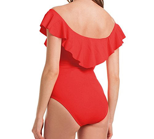 De Une Femme Maillot Vêtement Nu Epaule Bain Acvip Beachwear Natation Rouge Pièce Swimwear FZEIxdqdw