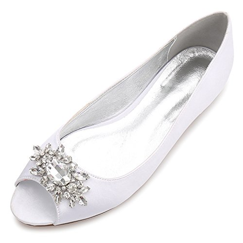 MarHermoso Womens Peep Toe Flats Elegant Satin Wedding Bridal Ballet White