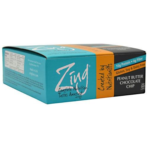 Zing Nutrition Bar-Peanut Butter Chocolate Chip-Box Zing Bars 12 Bars Box (Choc Chip Crisp)