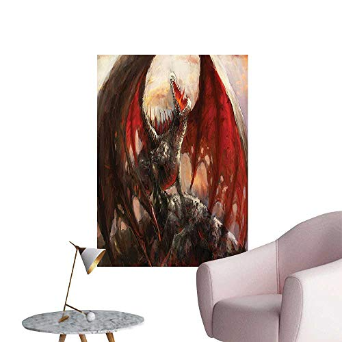 Vinyl Wall Stickers World Majestic Dragon Resting Mythological Fire Spewing Creature Spooky Grey a Perfectly Decorated,32