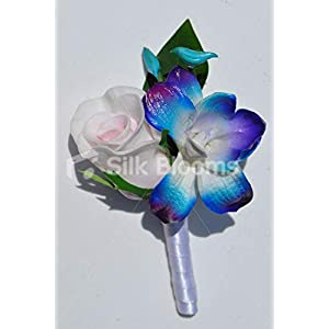 Silk Blooms Ltd Artificial Pink Fresh Touch Rose and Galaxy Blue Dendrobium Orchid Buttonhole w/White Satin Ribbon 46