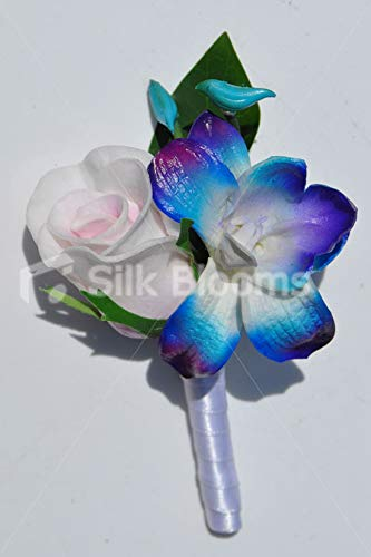 Silk Blooms Ltd Artificial Pink Fresh Touch Rose and Galaxy Blue Dendrobium Orchid Buttonhole w/White Satin Ribbon (Blue Dendrobium Orchids And White Rose Bouquet)