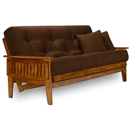 Nirvana Futons Eastridge Futon Set - Queen Size, Frame, 8' Mattress, Microfiber Sussex Fudge Cover