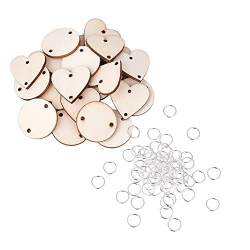 Round Circle Link - Kissitty 200Pcs Unfinished Blank Round Wooden Circles Discs Heart Wood Tag Links 2 Holes with 10mm Silver Open Jump Rings
