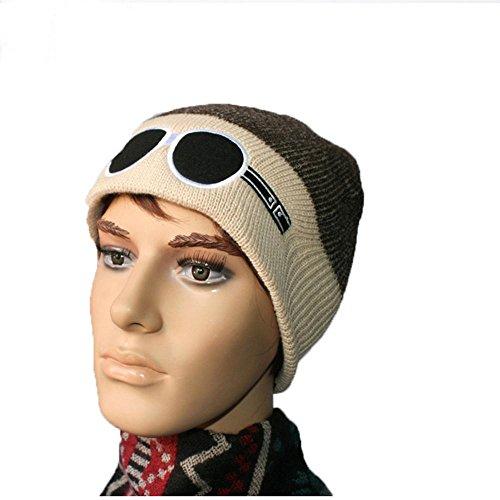 aire Warm GlassesDaily Soft de Knitting esquí libre gorro Lined negro Thick bordado al Invierno Hat beige IHq1x7qw