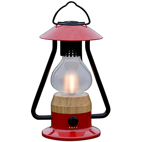 YMCRLUX LED Bluetooth Speaker Lantern, Dimmable Camping Lantern with Adjustable Color Temperature from Warm to Cold, Rechargeable(Red)