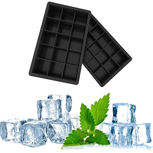 Ice Cube Trays Silicone Set of 2, Square Ice Ball Maker with Lid and Large Square Ice Cube Molds for Whiskey, Reusable and BPA ()