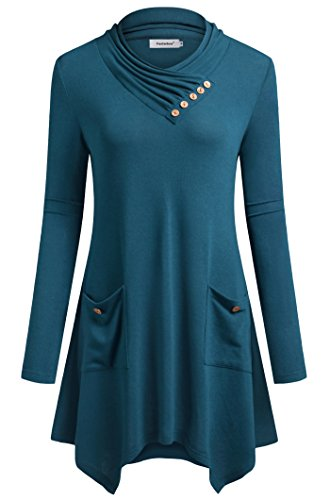 Fasterlow Pullover Shirts Button Shirt Dresses For Women Tunics Aqua (Aqua Stretch Dress)