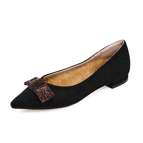 Xue Qiqi Court Schuhe Flache gespreizte Flache Schuhe Schuhe Schuhe der Schuhe wärmen einzelne Schuhe mit den niedrigen Schuhen 38 schwarz ff9694