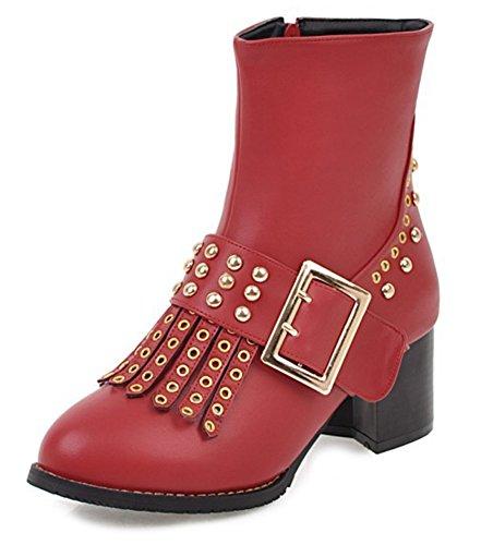 Femme Mode Bottines Cavalier Rouge Rivets Aisun Franges qO4w5qd