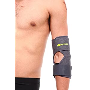 SENTEQ Elbow Brace Sleeve Support - One Size Adjustable. Medical Grade & FDA Approved. Tennis and Golfer's Elbow Pain Relief, Prevents Elbow Tendonitis, Provides Tennis Elbow Support (SQ1 H010)