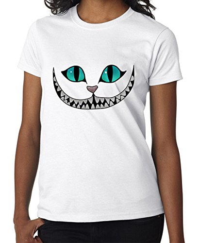 Cheshire Cat Face Cat Looking for You WE'RE ALL MAD HERE Women Damen White T-shirt