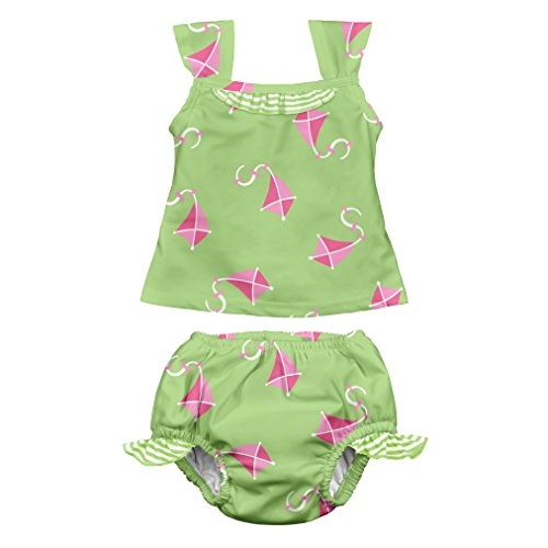 (i play. Girls Two-piece Tankini Set with Snap Reusable Swimsuit Diaper)
