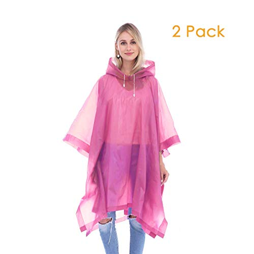 (Helonge Multipurpose Rain Poncho (2 Pack) One Size Fits All, Waterproof Raincoat with Hoods for Outdoor, Camping, Theme Park and Emergency (4 Colors) (Pink))